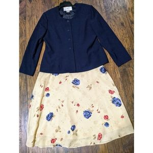 VTG Mary McFadden Size 18 Suit Dress Skirt floral